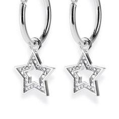 Style & Go, Stars Einhänger für Creolen aus Silber & weißem Zirkoniapaveé.