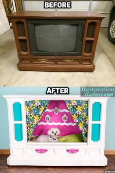 Retro Console TV Becomes Dog Bed! This is hilarious. I have no idea where you would put something like this but it is truly creative. Tv Dog Beds, Puppy Beds, Diy Dog Bed, Pet Beds, Animal Room, Dog Furniture, Dog Rooms, Animal Projects, Dog Houses