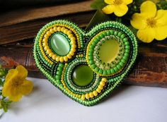 SALE Brooch Summer heart  Bead embroidered jewelry Heart Green Yellow 50% off. $35.00, via Etsy.