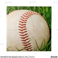 Baseball in the Summer Grass Ceramic Tiles