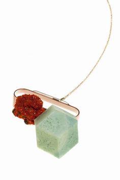 Jantje Fleischhut Neckpiece 13.1, 2015, gold, copper, silver, foam, crystal, swarovski crystal