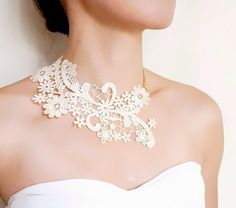 SALE cream white lace choker bib necklace // gold charm floral