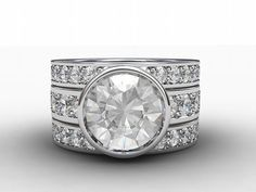 White sapphire engagement ring with two sapphire wedding bands, Gorgeous set! by TorkkeliJewellery, $9800.00