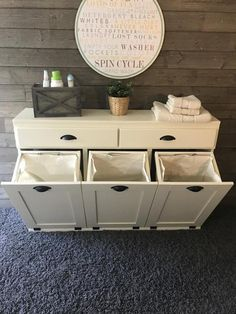 triple laundry hamper with storage drawers (3REG-LAU-DRAW-I/IVORY) - Lovemade14 Laundry Sorter, Laundry Room Organization, Storage Drawers, Storage Room, Wood Laundry Hamper, Bathroom Storage, Laundry Basket Storage, Laundry Chute, Small Laundry Rooms