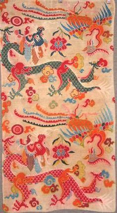 A Tibetan rug Nepal, size approximately x Tibetan Rugs, Tibetan Art, Tiger Rug, Textile Prints, Textile Patterns, Textile Design, Oriental Pattern, Contemporary Rugs, Floor Rugs