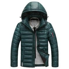 Warm Men's Down Jackets Slight Waterproof Casual Outerwear Snow Coats Thick Hooded Winter Duck Down Jacket For Man 3XL