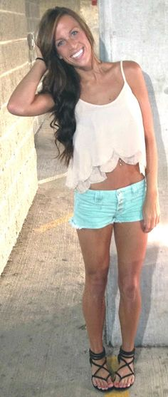 crop top and love the mint shorts