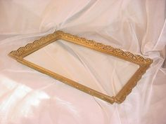 Vtg Hollywood Regency Vanity Tray w Mirror Gold tone Ornate Shabby 9 by 14 S2424