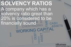 solvency ratios - 20 percent Solvency Ratio Formula is considered to be financially sound