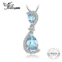 JewelryPalace Luxury Natural Sky Blue Topaz Water Drop Pendant Solid 925 Sterling Silver Fine Jewelry Not Include A Chain