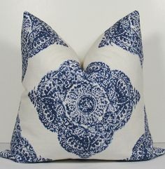Medallion - Patterns to consider for #OutdoorLiving - Have made in Sunbrella fabric - JOHN ROBSHAW Designer - Decorative Pillow Cover - DURALEE - WoodBlock Print - indigo blue - throw pillow - accent pillow