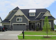 Exterior, : Gorgeous Ideas For Home Exterior Design With Grey Wood Siding Including Grey Craftsman Style Home Colors And Grey Up Garage Door