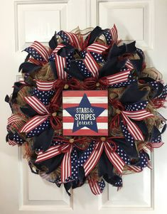 of July Stars and Stripes Forever Wreath, Labor Day Wreath, Military Wreath, Flag Wreath, Veterans Day by TiraMercantile on Etsy Flag Wreath, Patriotic Wreath, Diy Wreath, Wreath Ideas, Wreath Making, Patriotic Crafts, Tulle Wreath, Burlap Wreaths, Wreath Crafts