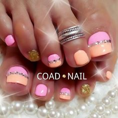 Image viaToenail DesignsImage viaCool & Pretty Toe Nail Art Designs & Ideas For Beginners .Image via Pretty Toe Nail Art D Simple Toe Nails, Pretty Toe Nails, Cute Toe Nails, Summer Toe Nails, Fancy Nails, My Nails, Bright Toe Nails, Summer Pedicures, Pretty Toes