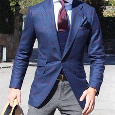 Blue burgundy Gingham blazer, Navy Vneck, Burgundy tie, white dress shirt, grey pants.