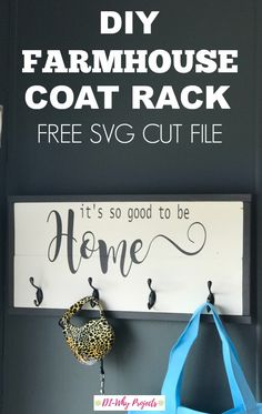 DIY Farmhouse Coat Rack tutorial. Build this farmhouse coat rack for a fraction of the cost!  Includes free SVG cut file for your cricut projects.  #farmhouse   #cricutprojects #decor