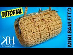 "TUTORIAL MINI BAULETTO ""Vintage"" in FETTUCCIA   Uncinetto/Crochet    Katy Handmade - YouTube"
