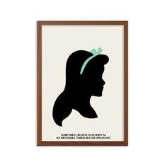 ALICE IN WONDERLAND | Six Impossible Things Poster : Modern Illustration Walt Disney Retro Art Wall Decor
