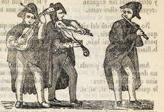 Tres hombres de pie y con sombrero, tocando un instrumento cada uno, la guitarra, el violín y la flauta.