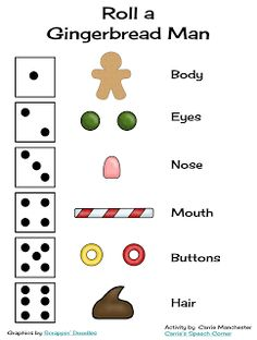 Here& a quick open-ended game for you.Roll a Gingerbread Man! This document comes with a dice graph: A blank gingerbread man: . Christmas Gingerbread, Noel Christmas, Christmas Games, Gingerbread Men, Gingerbread Crafts, Holiday Games, Italian Christmas, Gingerbread Cookies, Christmas Crafts