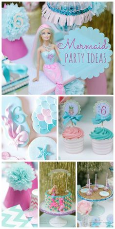 A pastel Mermaid girl birthday party with amazing decorations, cake pops and sugar cookies!  See more party ideas at CatchMyParty.com!