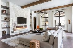 <p>Fashion-forward interiors and old-world- inspired architectural features beautifully accommodate a family's entertaining needs.</p>