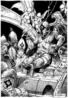 Hi there, I'm Kevin Funk: freelance fantasy/sci-fi drawing hustler. This is a personal account as well as a space where I post retro sci-fi/fantasy art that inspires me. Comics Toons, Bd Comics, Manado, Ink Illustrations, Illustration Art, Bilal Enki, Science Fiction, Book Images, Comic Art