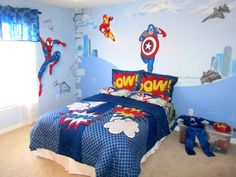 Superhero bedroom ideas - Superhero themed bedrooms - Superhero room decor - superhero bedroom decorating ideas - Superheroes bedroom ideas - Decorating ideas Avengers rooms - superhero wall murals - Comic Book bedding - marvel bedroom ideas - Superhero B Marvel Bedroom, Batman Bedroom, Boys Bedroom Decor, Bedroom Themes, Bedroom Ideas, Kids Rooms Decor, Room Kids, Boy Rooms, Bedroom Designs