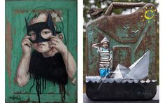 Left Ernest Zacharevic - Batgirl, 2015, Right Ernest Zacharevic - The Spill, 2014, policy paint wall