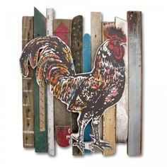 """Rooster Collection Rescued Wood Construction artwork by Dolan Geiman  23.5"""" x 17"""" x 2.25""""   acrylic, salvaged wood and found objects"""