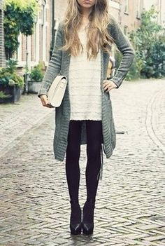 love the long blue sweater with the tights