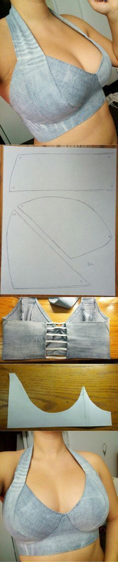 Halter top ideas...<3 Deniz <3 Could cross the steaps in the back to be a very nice bra