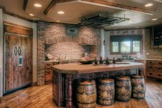 love the leather topped barrel stools