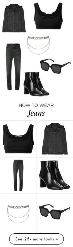 """""""Alexander Wang black jeans """" by maria-victoria-behar on Polyvore featuring T By Alexander Wang, Alexander Wang, Yves Saint Laurent and Elizabeth and James"""