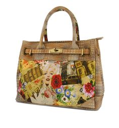 Our new Decoupage handbag by #SpringStep is a French Inspired, hand painted croco embossed leather satchel featuring a whimsical summertime print making this your go-to bag! @Pipsboutique!