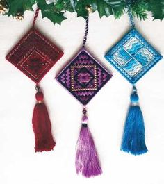 """The Jewel Box Club is a series of four patterns, each with three birthstone #ornaments.  Club 1 showcases January, February and March.  You begin with a 7"""" x 10"""" piece of 18-count canvas.    #canvaswork #needlepoint #Christmas #stitching #needlework #embroidery"""