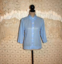 Cotton Blouse Light Blue Shirt Sheer Top Small by MagpieandOtis