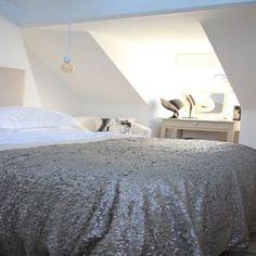 Luxury Sequin and Velvet Bedspread Throw - Platinum WAS 230 Now 130