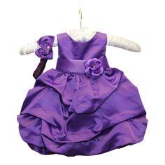 BIMARO Baby Mädchen Babykleid Lucy lila violett Haarband Satin festlich Taufkleid Hochzeit Taufe Feier Weihnachten Babies Babykleider