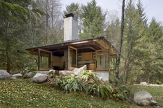 Tye River Cabin by Olson Kundig Architects. The entire cabin can be opened to the outdoors.