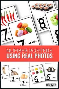Use these colorful photograph posters to visually display numbers 1-10 in your classroom or resource room! Each poster has the numeral, number word, and photograph representation.