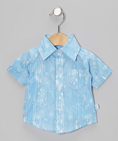 White & Blue Splash Stripe Button-Up - Infant & Toddler by RuggedButts on #zulily
