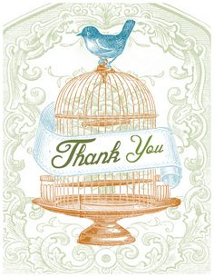 Super cute free printable greeting cards from Jennifer Rizzo: four designs featuring birdcages.