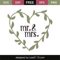 *** FREE SVG CUT FILE for Cricut, Silhouette and more *** Mr. & Mrs. Cricut Svg Files Free, Free Svg Cut Files, Vinyl Crafts, Vinyl Projects, Free Wedding Cards, Wedding Gifts, Printable Crafts, Printables, Free Printable