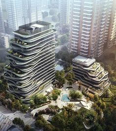 The Giorgio Armani Armani Casa Interior Design studio has signed a partnership deal with Smart Hero Group, a Chinese real estate company, for a residential Curve Building, Building Facade, Green Building, Building Design, Green Architecture, Futuristic Architecture, Sustainable Architecture, Amazing Architecture, Future Buildings