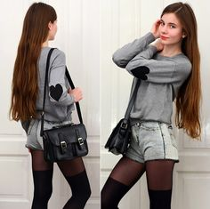 Romwe Grey Jumper With Black Hearts Patches On Elbows, Ecugo Black Postman Bag, Black Over Knee Socks  Tights, Romwe Denim Shorts