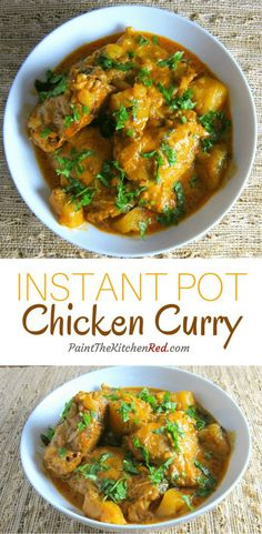 Instant Pot Chicken Curry - This Instant Pot chicken curry is flavorful and creamy and is sure to please any Indian Curry lover. From Paint the Kitchen Red