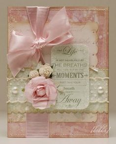 Pastel Pink & Cream Card...with lace, satin ribbon, roses & pearls.  Gorgeous!!  love pink