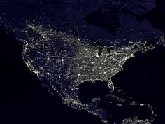 Nights lights of the USA.  Want to go to the black