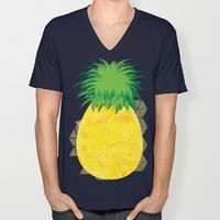 V-neck T-shirt featuring Pineapple Crush by Megan Hillier